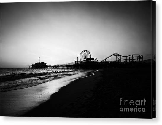 Santa Monica Pier Canvas Print - Santa Monica Pier Black And White Photography by Paul Velgos