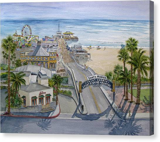 Santa Monica Pier Canvas Print - Santa Monica Pier by Bonnie Sue Schwartz