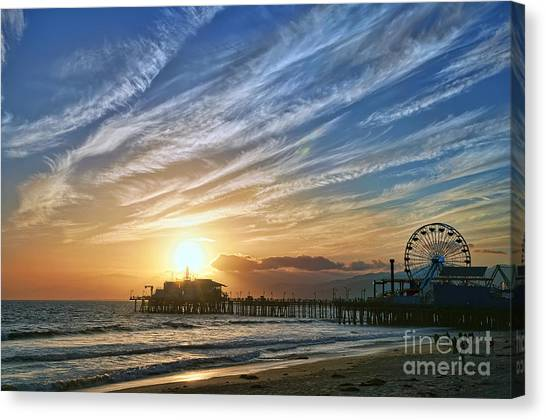 Santa Monica Canvas Print - Santa Monica Pier by Eddie Yerkish