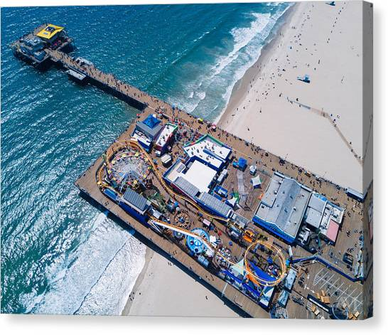 Santa Monica Canvas Print - Santa Monica Pier From Above Side by Andrew Mason