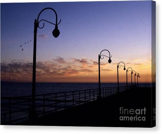 Santa Monica Pier Sunset Canvas Print by Chris Jurgenson