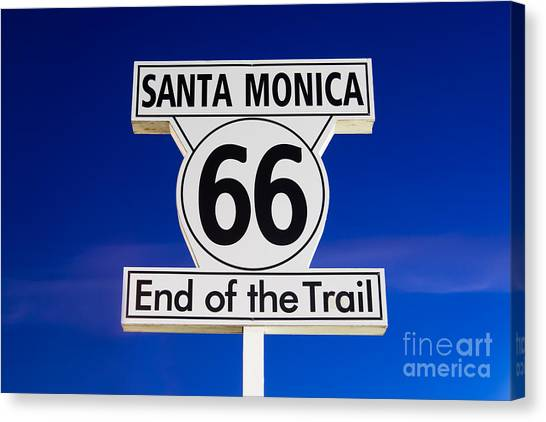 Santa Monica Pier Canvas Print - Santa Monica Route 66 Sign by Paul Velgos