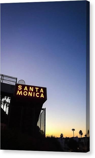 Santa Monica Canvas Print - Santa Monica Sunrise by Art Block Collections