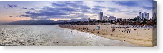 Santa Monica Canvas Print - Santa Monica Sunset Panorama by Ricky Barnard