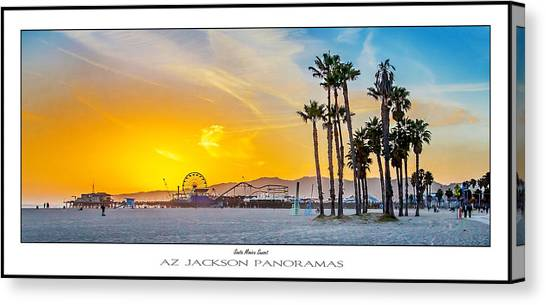 Santa Monica Canvas Print - Santa Monica Sunset Poster Print by Az Jackson