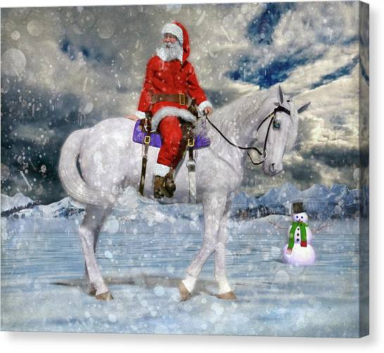 Mountain View Canvas Print - Santa Rides To Town by Betsy Knapp