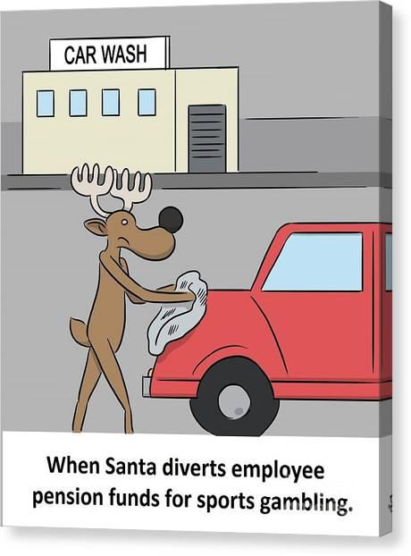 Minimum Wage Canvas Print - Santa The Gambler by Steve Ross