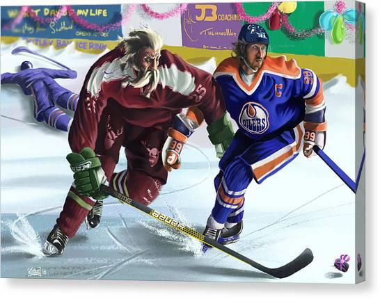 Wayne Gretzky Canvas Print - Santa Vs Wayne by Russell Rafferty