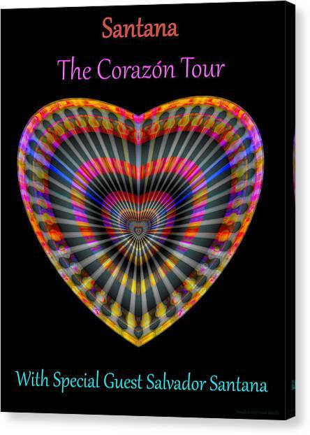 Canvas Print featuring the digital art Santana The Corazon Tour by Visual Artist Frank Bonilla