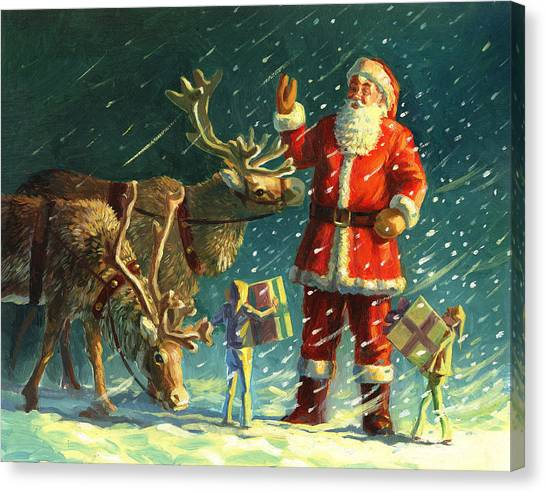 Elves Canvas Print - Santas And Elves by David Price