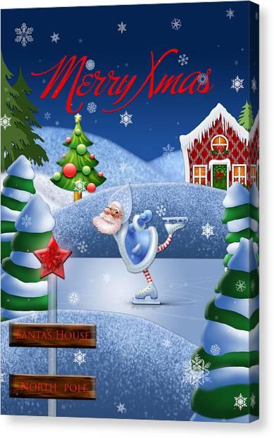 North Pole Canvas Print - Santa's House - North Pole English Text  by Maggie Terlecki