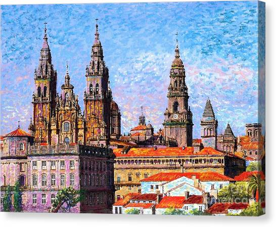 Romanesque Art Canvas Print - Santiago De Compostela, Cathedral, Spain by Jane Small