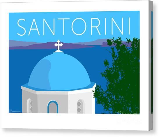 Canvas Print featuring the digital art Santorini Dome - Blue by Sam Brennan