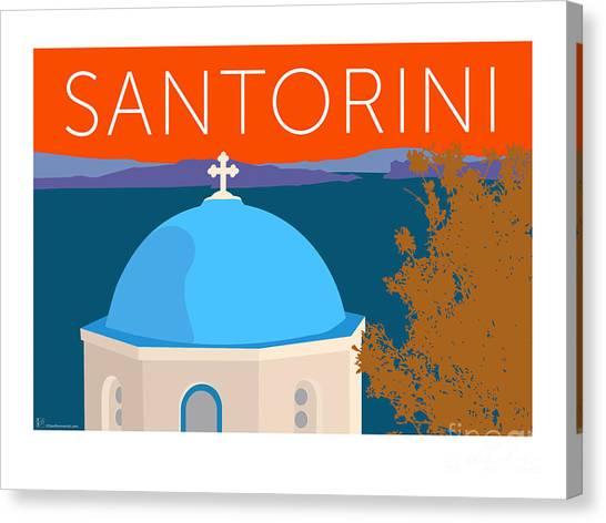 Canvas Print featuring the digital art Santorini Dome - Orange by Sam Brennan
