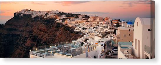 Santorini Skyline Sunset Canvas Print by Songquan Deng