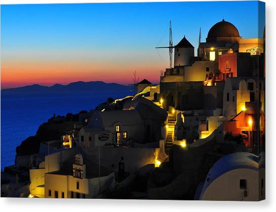 Greece Canvas Print - Santorini Sunset by Ian Stotesbury