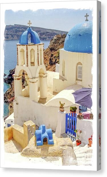 Orthodox Art Canvas Print - Santorini Watercolor by Delphimages Photo Creations