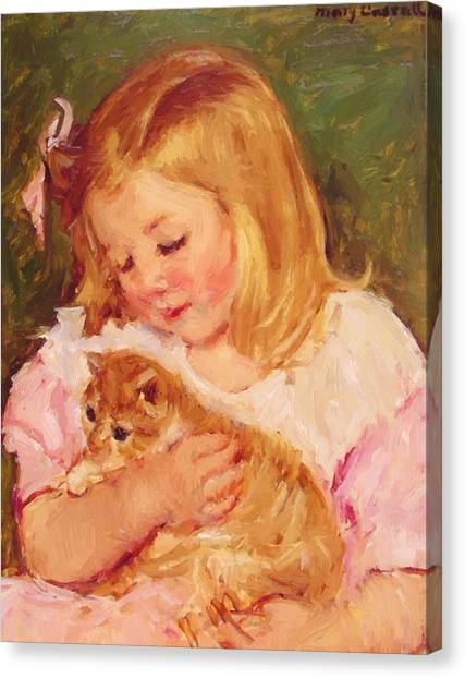 Sara Holding A Cat Canvas Print