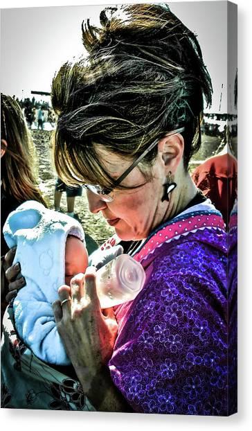 Sarah Palin Canvas Print - Sarah Palin Feeding Her Baby Trig by Bob Lynn