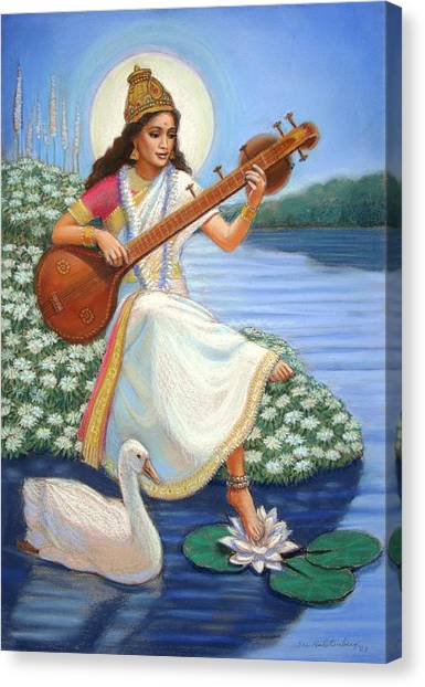 Hindu Canvas Print - Sarasvati by Sue Halstenberg