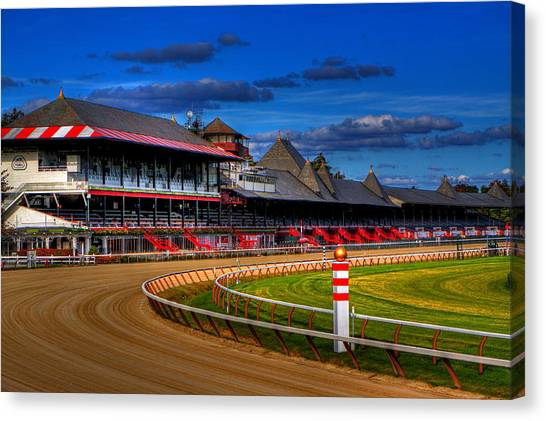 Race Horses Canvas Print - Saratoga Race Track by Don Nieman