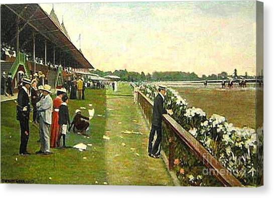 Saratoga Racetrack And Grandstand In 1905 Canvas Print