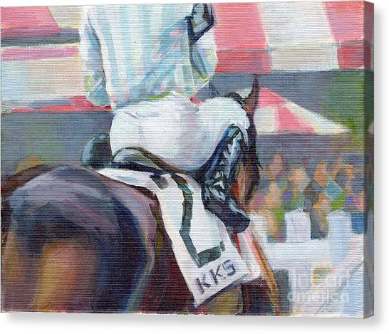 Thoroughbreds Canvas Print - Saratoga Stripes by Kimberly Santini
