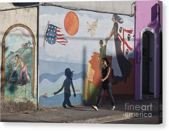Canvas Print featuring the photograph Sardinia Wall Painting  by Juergen Held