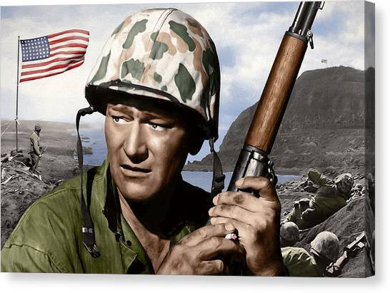 Southwest Canvas Print - Sargent Stryker U S M C  Iwo Jima by Daniel Hagerman