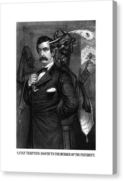 Abraham Lincoln Canvas Print - Satan Tempting John Wilkes Booth by War Is Hell Store