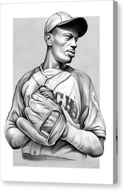 Baseball Canvas Print - Satchel Paige by Greg Joens