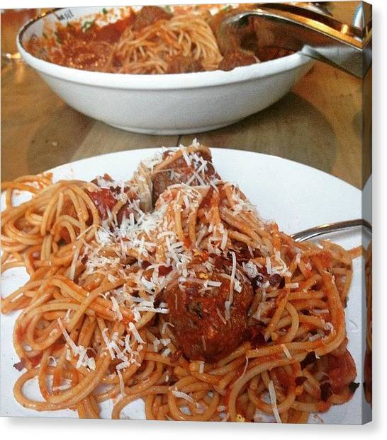 Spaghetti Canvas Print - #saturday #dinner ~ #spaghetti With by Beate Weiss-krull