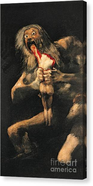 Saturn Canvas Print - Saturn Devouring One Of His Children  by Goya