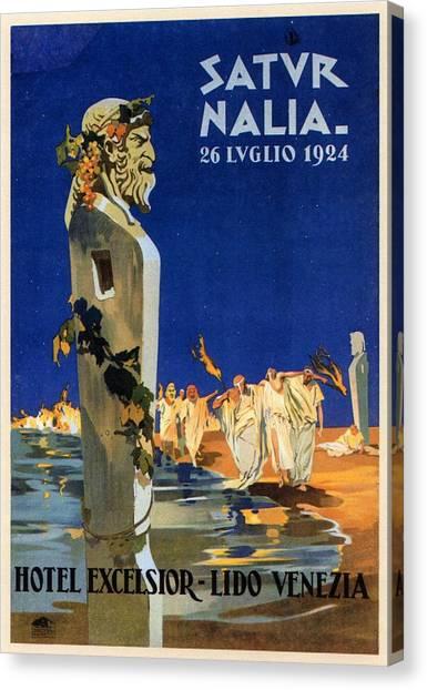 Saturn Canvas Print - Saturnalia Celebrations On Lido Di Venezia - Venice, Italy - Vintage Poster by Studio Grafiikka