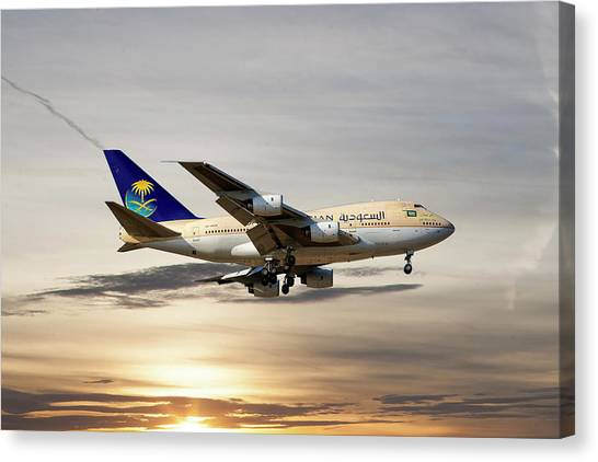 Airlines Canvas Print - Saudi Arabian Government Boeing 747-sp by Smart Aviation