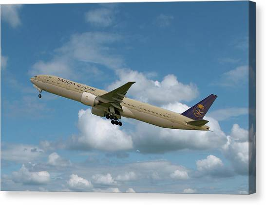Boeing Canvas Print - Saudia Boeing 777-368 by Smart Aviation