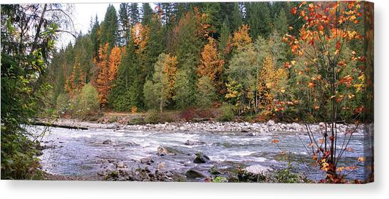 Sauk River Fall Colors Panorama Canvas Print by Mary Gaines