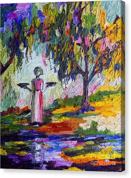 Savannah Georgia Bird Girl Canvas Print by Ginette Callaway