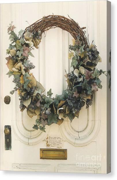 Impressionistic Canvas Print - Savannah Georgia Vintage Old Door With Wreath by Kathy Fornal