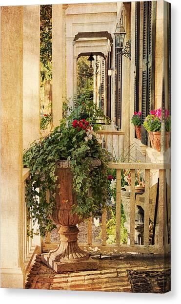 Brick House Canvas Print - Savannah Porch by Kim Hojnacki