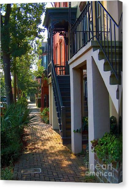 Brick Sidewalks Canvas Print - Savannah Streets by Southern Photo