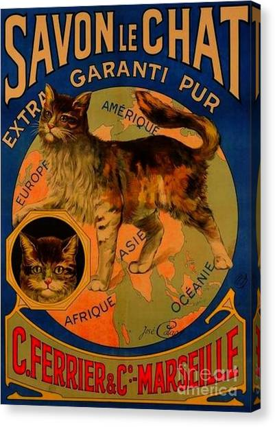 Savon Le Chat Antique French Poster Canvas Print