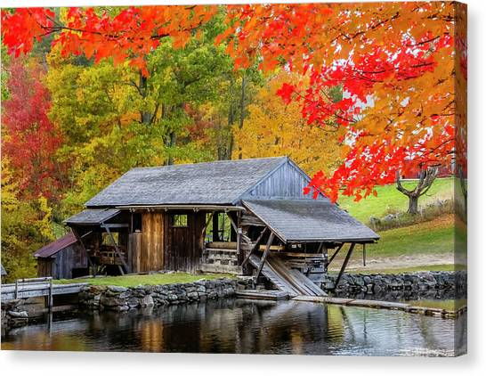 Sawmill Reflection, Autumn In New Hampshire Canvas Print