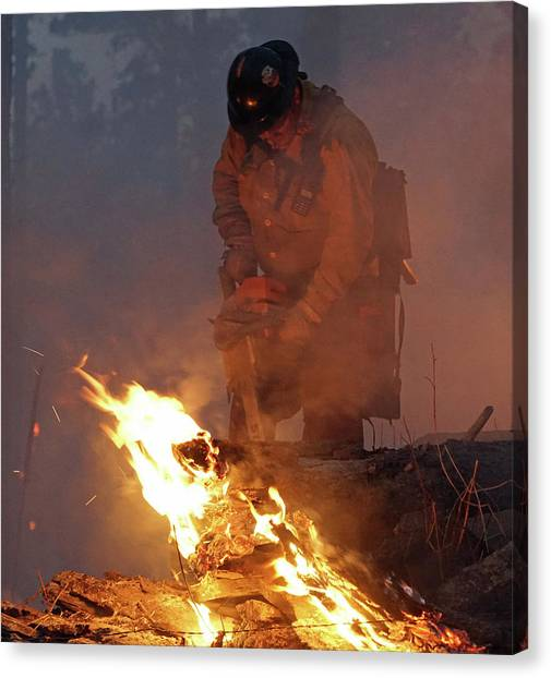 Sawyer, North Pole Fire Canvas Print