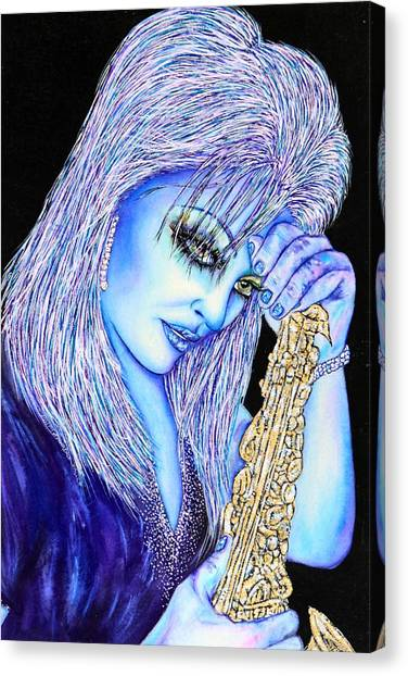 Sax Blue Canvas Print by Joseph Lawrence Vasile