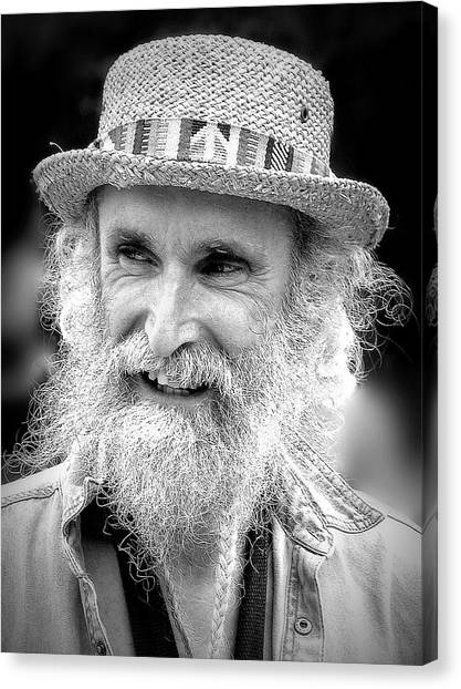 Sax Man In Black And White Canvas Print by Jen White