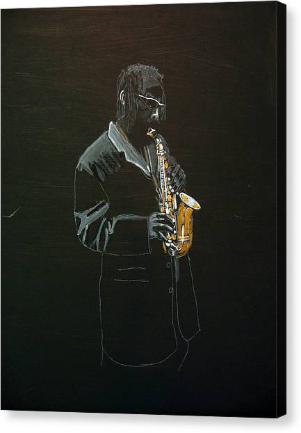 Sax Player Canvas Print