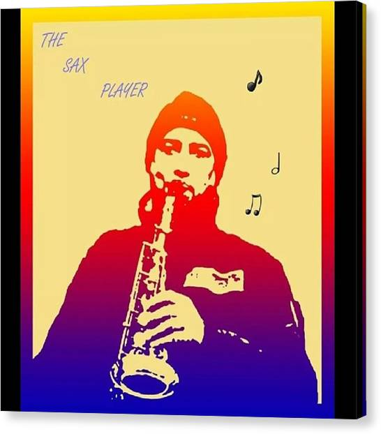 Saxophones Canvas Print - Sax Player #saxophone #music #popart by Steve Wilkinson