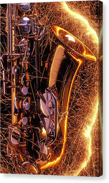 Saxophones Canvas Print - Sax With Sparks by Garry Gay