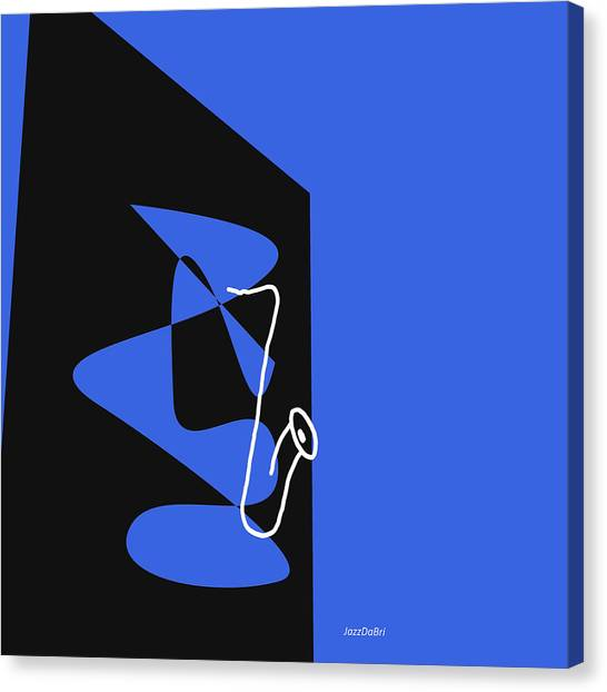 Saxophone In Blue Canvas Print